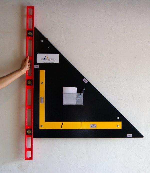 Photo of calibrating level vertically.