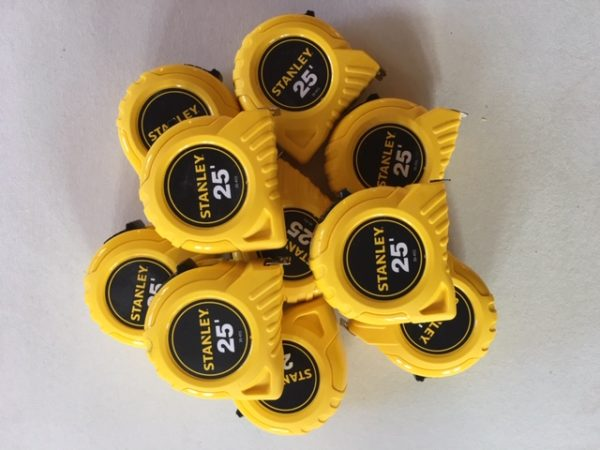 Stanley calibrated tape measure, 25ft, Lot of 10, NIST Traceable