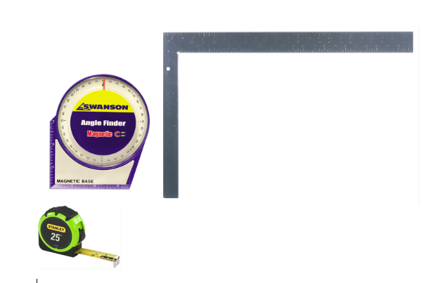 Calibration Station validation kit with calibrated square, calibrated angle finder and calibrated tape measure