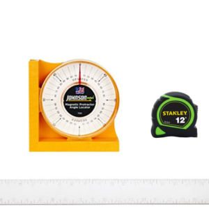 validation kit with calibrated tape measure, calibrated square and a johnson angle finder.