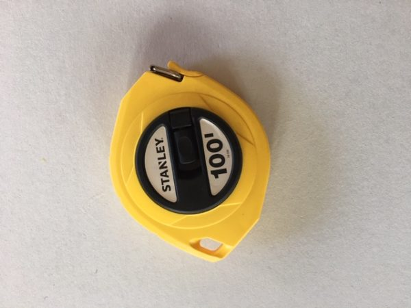 Single calibrated tape measure 100 ft
